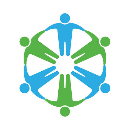 People icon. Holding hands in circle