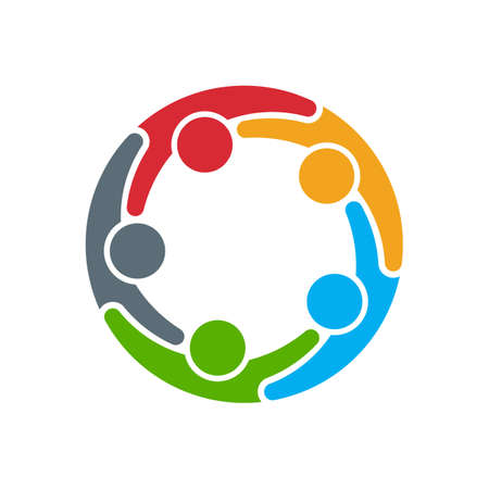 trabajo en equipo: Icono de la gente. Grupo de cinco personas en círculo Vectores