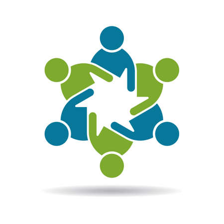teamwork together: People graphic icon  Teamwork 6 group Illustration
