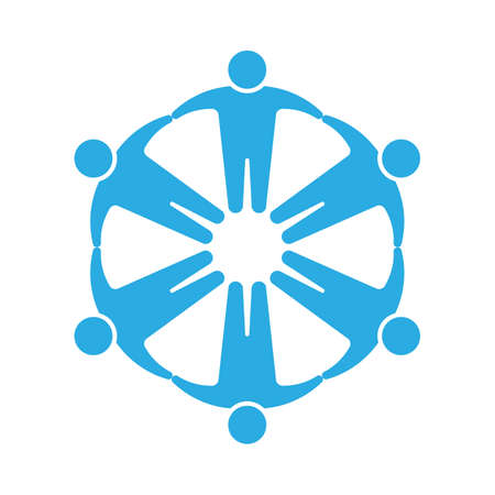 community people: People icon .Holding hands in circle