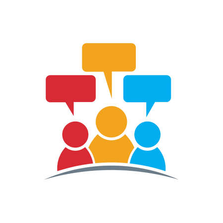 people icon: People icon . Group of three persons speech