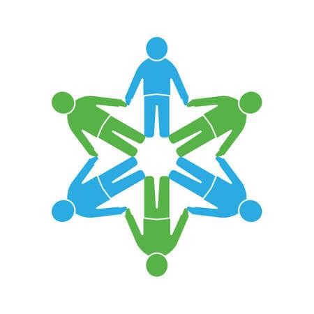 circulo de personas: Icono de la gente .Circle juntos Vectores