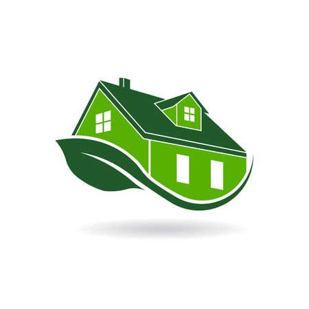 Green Passiefhuis logo, milieu-gecertificeerd Stock Illustratie