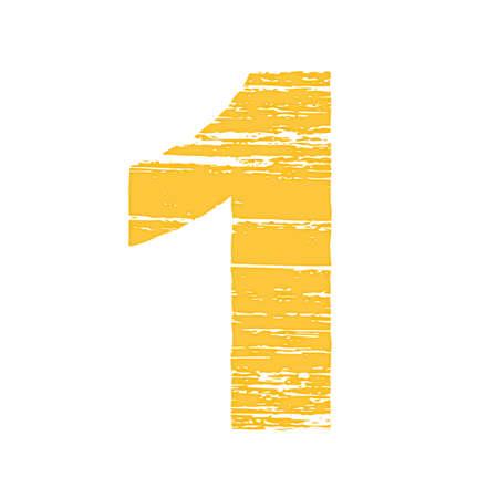numero uno: Grunge Número Logo 1. Raspe estilo.