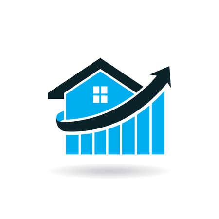 House price spike logo Stock Illustratie
