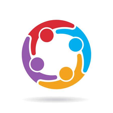 personas abrazadas: Logotipo de la red de medios sociales