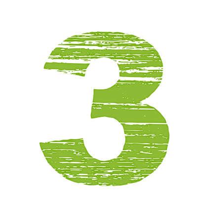 Grunge Número Logo 3. Raspe estilo. Foto de archivo - 45795186