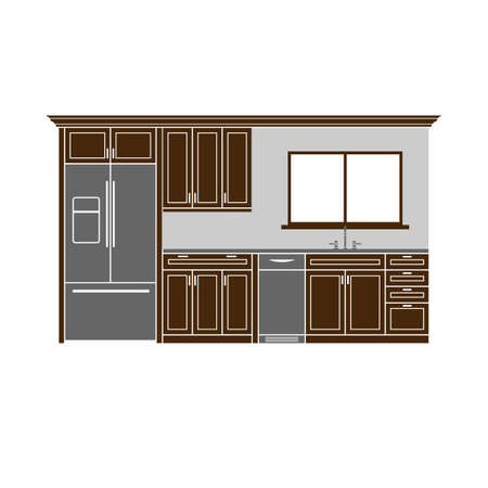 Modern kitchen cabinets with refrigerator Stock Illustratie