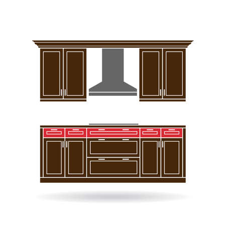 cabinets: Modern kitchen cabinets with cooktop color design Illustration