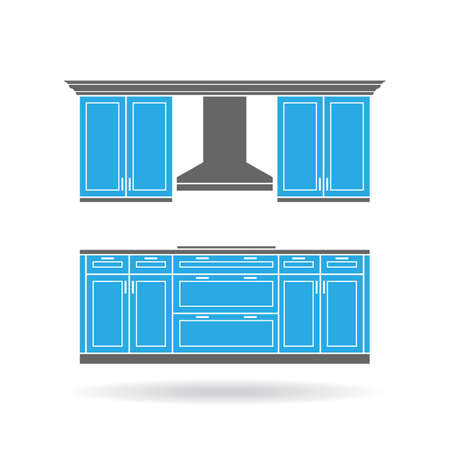 drawers: Modern kitchen cabinets with cooktop and hood