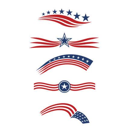 spojené státy americké: USA hvězda vlajka pruhy designové prvky vektorové ikony