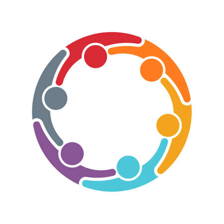 six persons: Group of six persons in circle