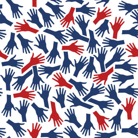 ideology: Hands Pattern Background Seamless. Red and Blue people ideology Illustration