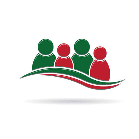 media center: Teamwork 4 people in holiday colors Illustration