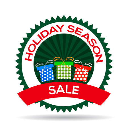 Holiday Season sale seal on white background, vector illustration