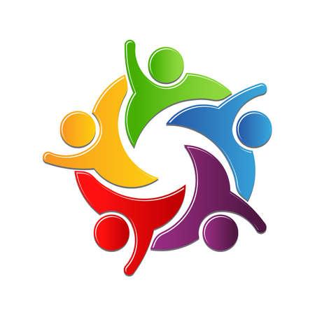 juntos: La cultura del trabajo en equipo de trabajo en el círculo. diseño de logo Vectores