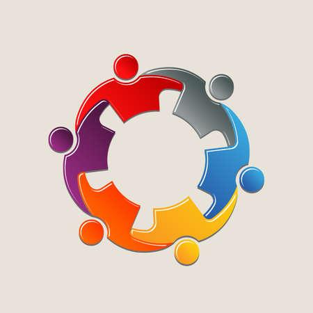 circulo de personas: Personas Trabajo en equipo en círculo tomados de los brazos. Diseño de logo Vectores