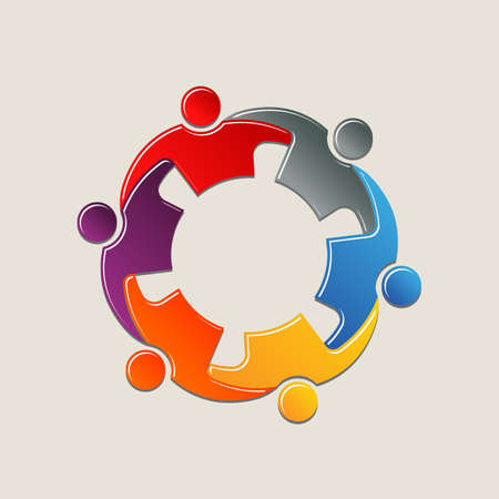 interlaced: Teamwork people in circle holding arms. Logo design