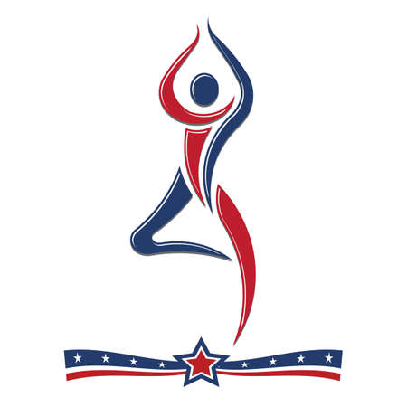 calisthenics: Gimnastic people in red white and blue icon