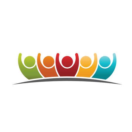Teamwork people logo Vettoriali