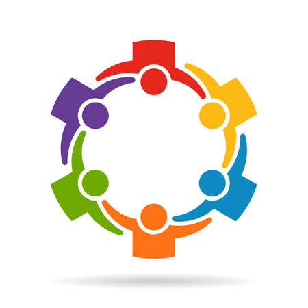 People group of six summit logo Stock Illustratie