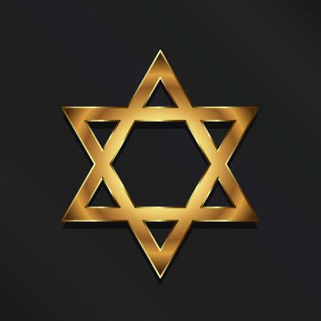 Golden David Star. Judaism symbol Illustration