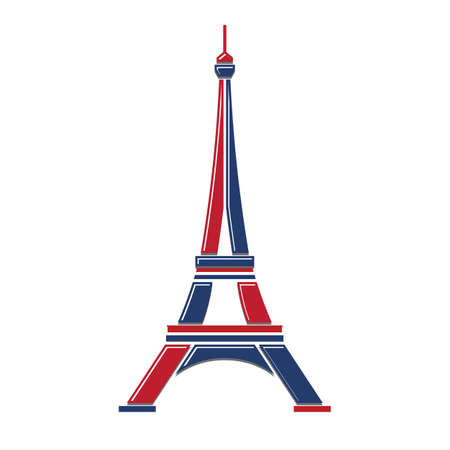 metal drawing: Eiffel Tower Logo red and blue Paris. Icon design