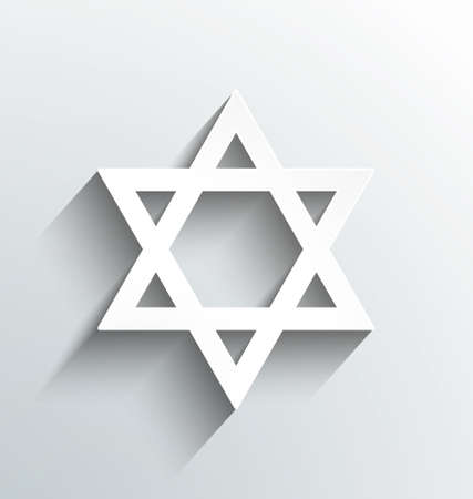 bar mitzvah: Star of David, white with shadows design Stock Photo