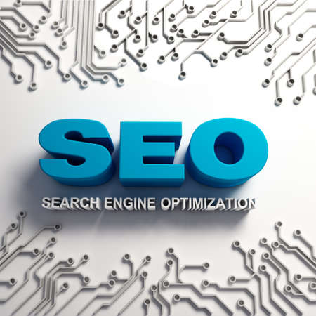 algorithm: 3D SEO word sign with hi-tech algorithm idea