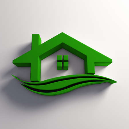 housing estate: House green color with waves