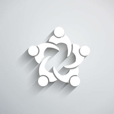 logo design: Group of People meeting in circle. 3D paper style Illustration