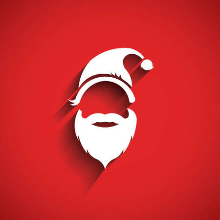 seasons greeting card: Santa hat, moustache with beard.3D Paper style Illustration