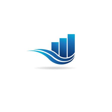 Zakelijke professional logo sjabloon met bars en golven Stock Illustratie