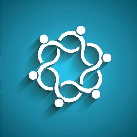 人々 のチームワークの波。3 D ペーパー スタイル  イラスト・ベクター素材