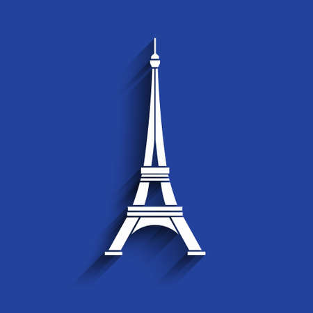 Eiffel Tower 3D paper style icon Illustration