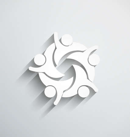 logo design: People Teamwork Happy. 3D paper style