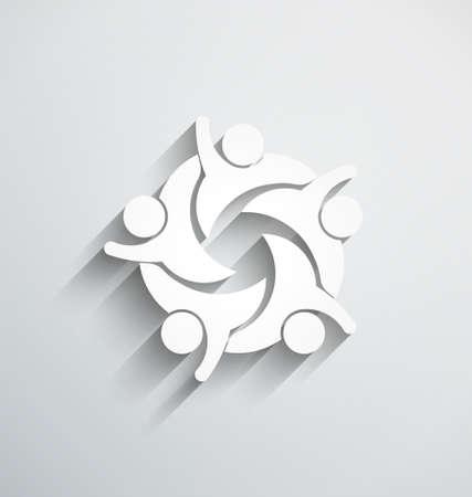 Travail d'équipe Heureux. style de papier 3D