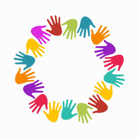 hands in: Hands in circle. Concept of group of children, people and union