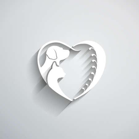 socializando: Gato del perro del amor corazón ilustración vectorial