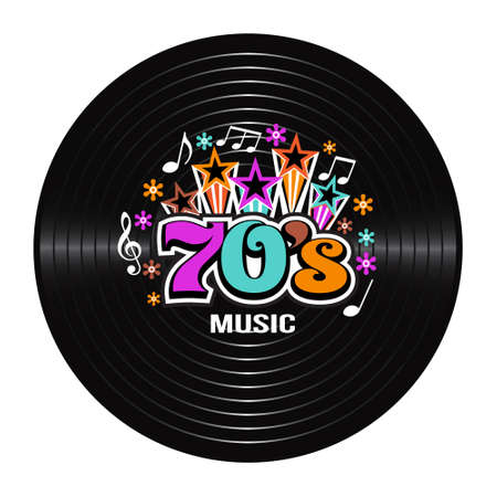 compilation: 70s Music discography. Vector Illustration
