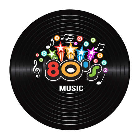 80s Music discografie. vector Illustration
