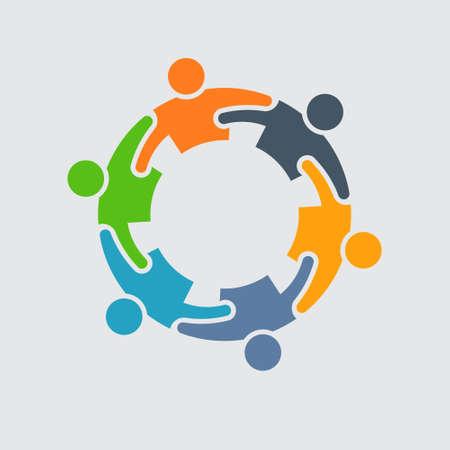 personas abrazadas: Icono de la gente. Grooup de 6 personas en círculo Vectores