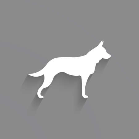 Dog graphic in white and gray Illustration