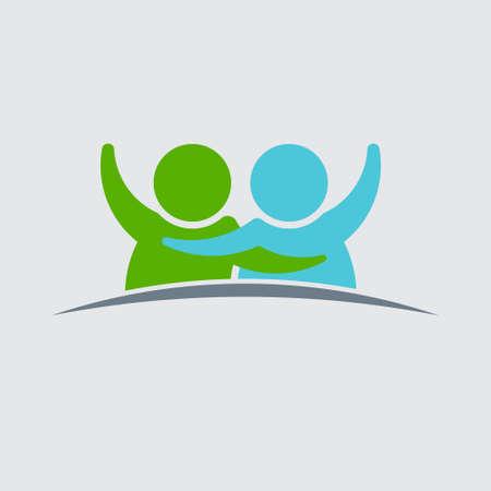 personas abrazadas: Diseño de los pares logotipo de la gente. gráfico vectorial Vectores