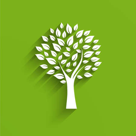 landscaped garden: Tree Logo in green and white Illustration