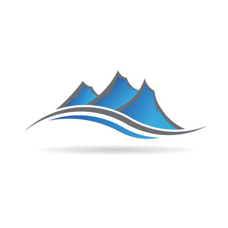 Logo montañas swoosh Foto de archivo - 49634386