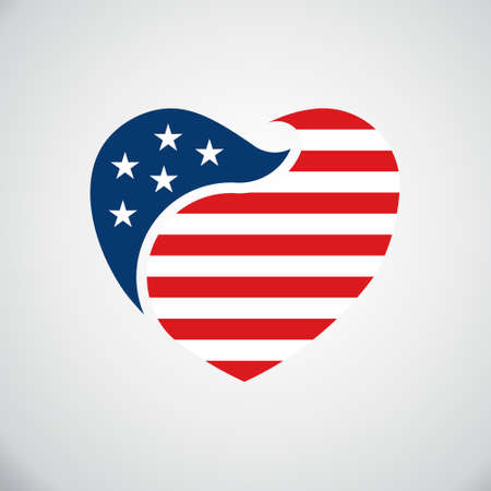 American flag inside heart. Vector logo