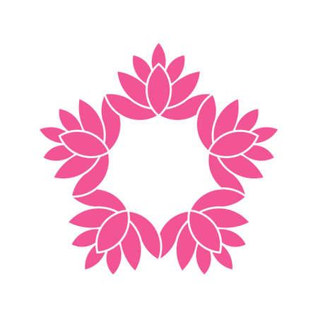 estilo de las flores de Lotus circle.Watercolor. Vector de diseño gráfico