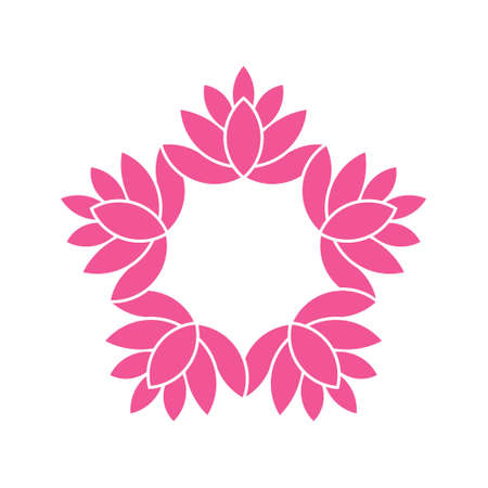 Lotus Flowers circle.Watercolor style. Vector graphic design