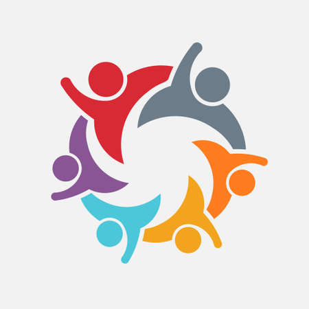 We are a Family of 6. Parent and children. Vector Logo